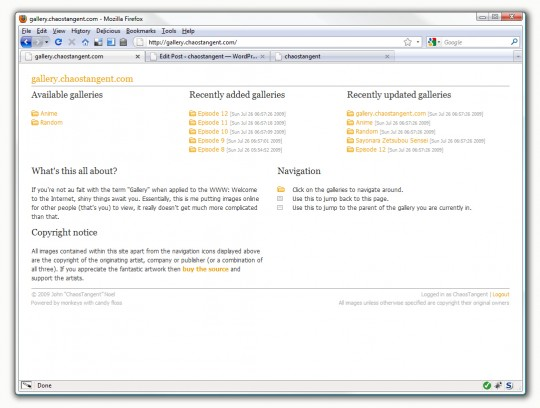 gallery.chaostangent.com front page